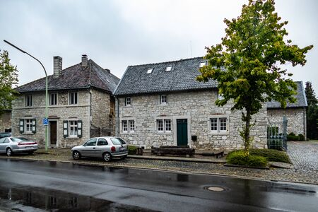View on two historical mansion houses build in local quarrystone. Editorial