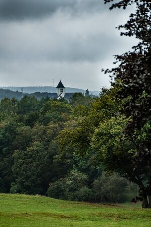 Landscape with trees and view on building with white bell tower. Breinig, DE