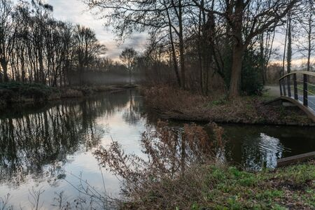 Morning landscape with little stream and bare trees reflecting in the water on a hazy winter day in Bijlmerweide, Amsterdam, the Netherlands