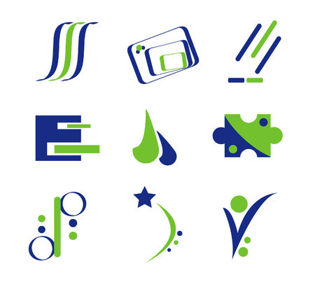 Green and Blue Logo Elements Stock Vector - 3168813
