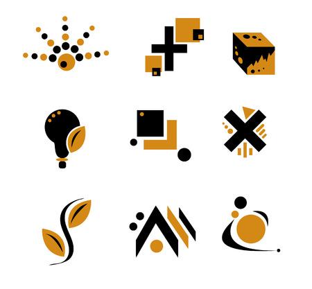 objetos cuadrados: Amarillo y Negro Logo elementos  Vectores