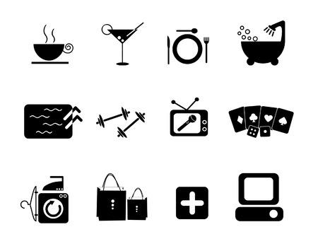 laundry hanger: Servicios icono para el hotel y el club