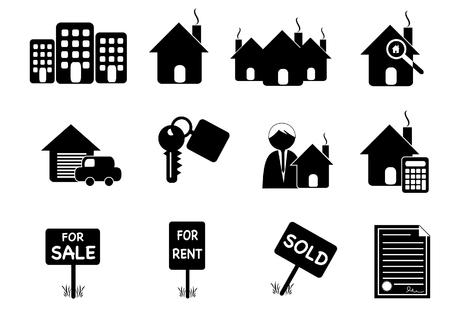 makler: Retro Immobilien Symbole Illustration