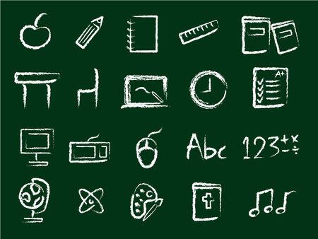 iconos educacion: Educaci�n iconos de estilo de tiza  Vectores
