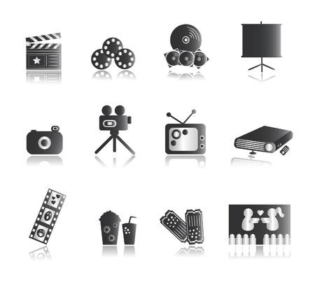 Iconos de plata Entretenimiento con reflexión Ilustración de vector
