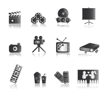 Silver Entertainment Icons with reflection Vector