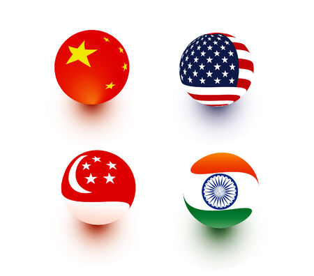 Spherical Flags - China, USA, India, Singapore