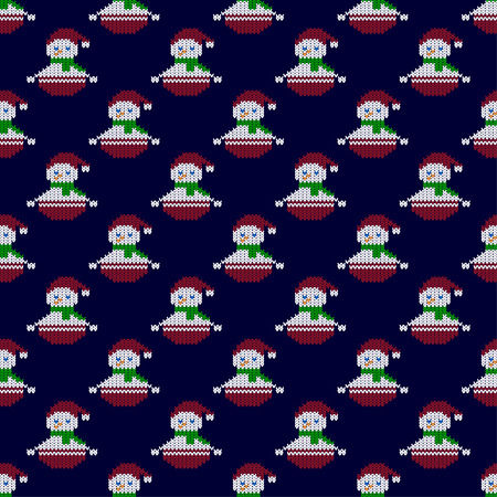 Seamless pattern with knitted snowmen. Winter pattern. Christmas pattern. Can be used for wallpaper, textile, invitation card, wrapping, web page background.
