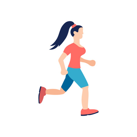Young girl is running. Lifstyle fitnes character. Vector illustration on white background.