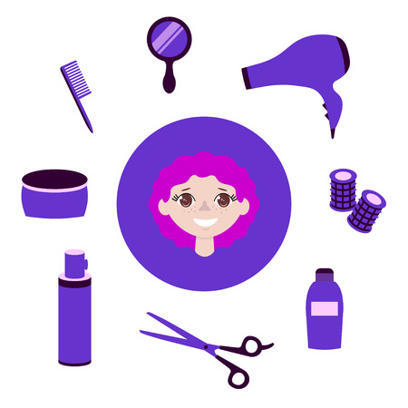Set of hairdressing items. Objects to do the girl a beautiful hairdo. Flat vector illustration