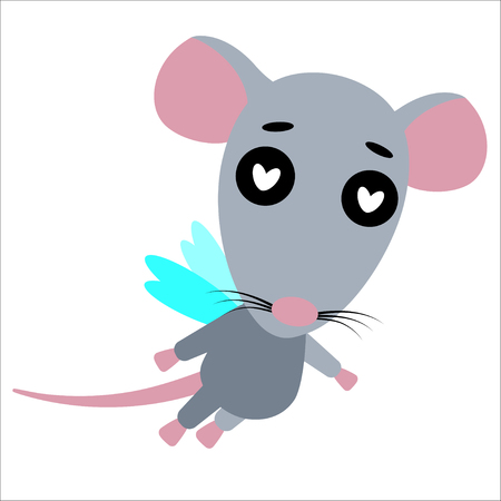 Rat in love. Cute cartoon character. White background. Flat design rat. Vector illustration 向量圖像