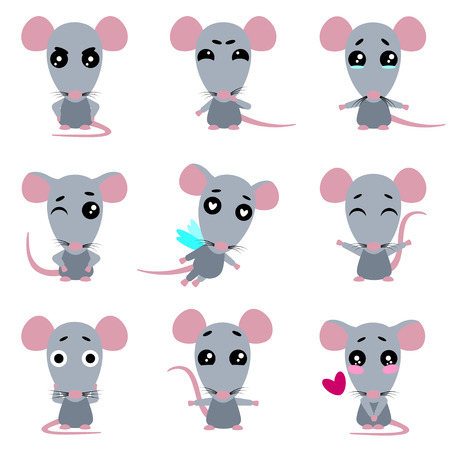 Set of cute rats character with different emotions. Cartoon rat. Vector collection. Illustration
