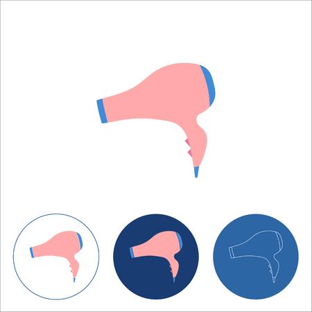 Hair dryer icon on white background. Hairdryer sign. Hair drying symbol. Hairdressing equipment. Editable stroke. Vector illustration