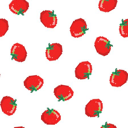 Seamless pattern with 8 bit pixel tomato on a white background. Vector illustration.Old school computer graphic style. Games elements.