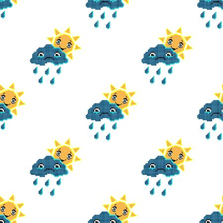 Seamless pattern with smile sun and sad cloud. Pixel art background, cartoon vector illustration. Retro game style.