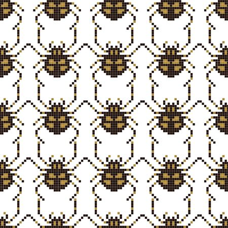 Pixel seamless pattern with 8 bit spider. Old school computer graphic style. Vector illustration for card,website, poster, textile print etc. Illustration