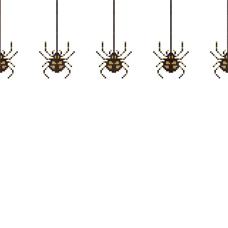 Pixel seamless pattern with 8 bit spider. The spider is hanging on the spiderweb. Old school computer graphic style. Vector illustration for card,website, poster, textile print etc.