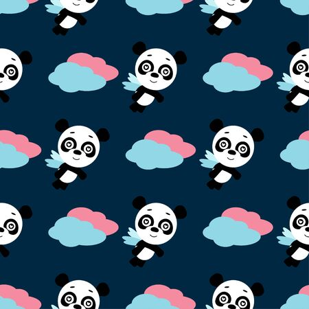 Panda in love. Cute cartoon character. Flat design.