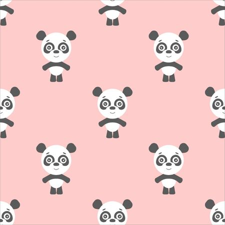 panda bear on the pink background, cartoon panda.