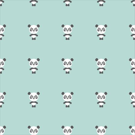 panda bear on the green background, cartoon panda.  イラスト・ベクター素材