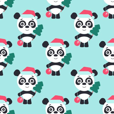 Cartoon panda. Cute panda with christmas tree and new year ball.  イラスト・ベクター素材