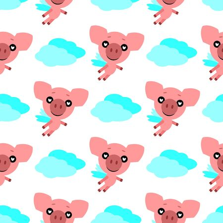 Piggy in love. Cute character. White background. Flat design.