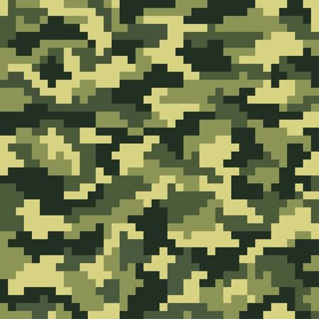 Camuflaje militar. Patrón de píxeles sin costuras Estilo digital de bosque Ilustración vectorial Juegos antiguos. 8 bits.