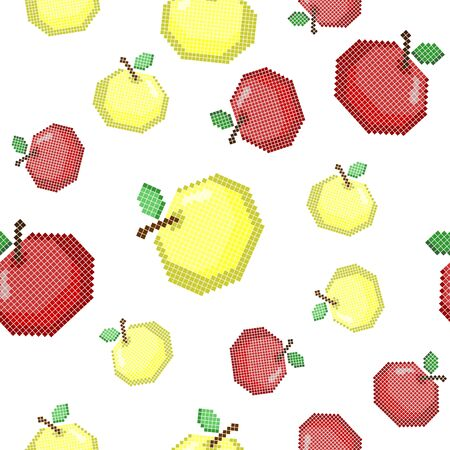 Seamless pattern with pixel apple. Autumn seasonal element of harvest.