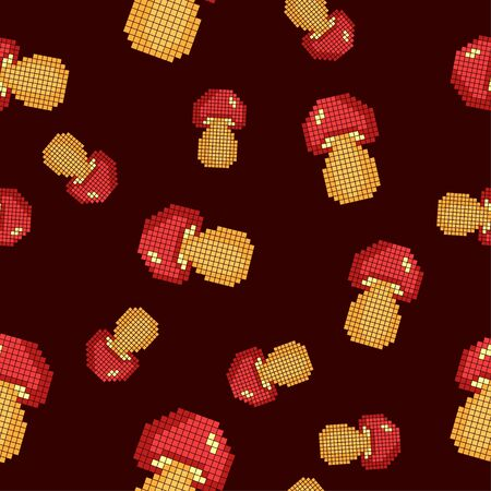 Seamless pattern with mushrooms on a dark background. Pixel art.Vector illustration for games and applications.