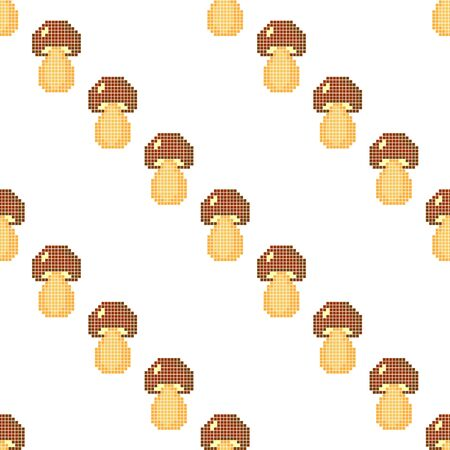 Seamless pattern with mushrooms on a white background. Pixel art. Vector illustration for games and applications. 写真素材 - 143843101