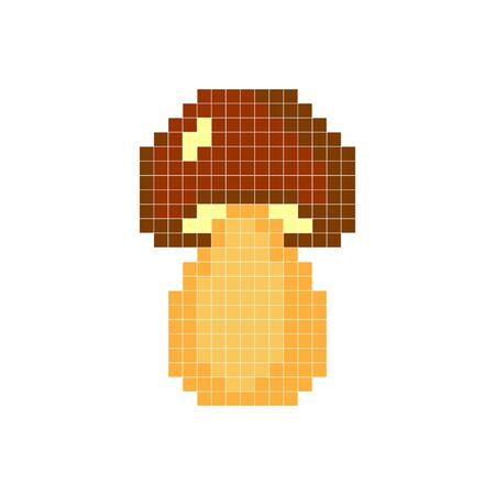 Mushroom on a white background. Pixel art. Illustration for games and applications. Vector illustration.  イラスト・ベクター素材