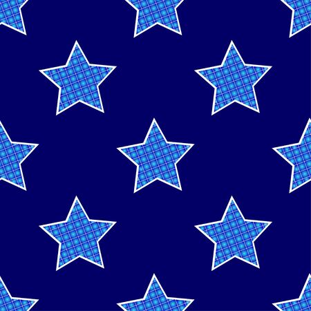 Seamless pattern with stars on a dark background. Vector pixel illustration.