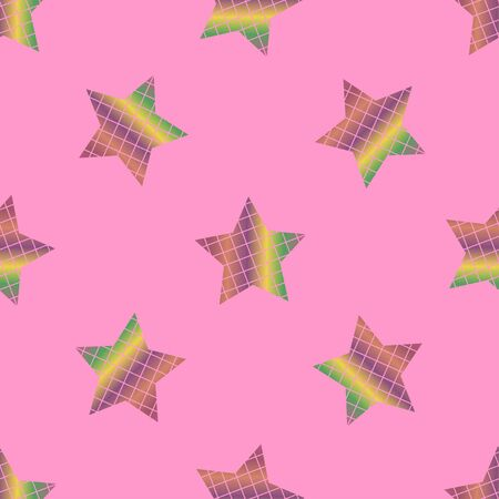 Seamless pattern with stars on a pink background. Vector pixel illustration. 写真素材 - 144112988