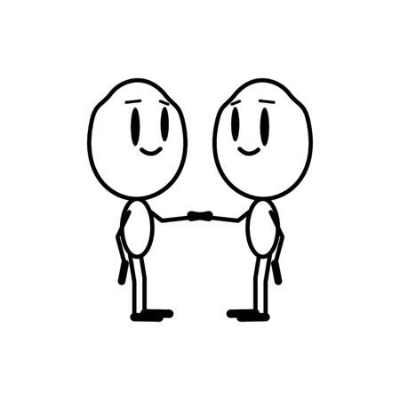 Shake hands. Vector illustration cartoon character, line design.
