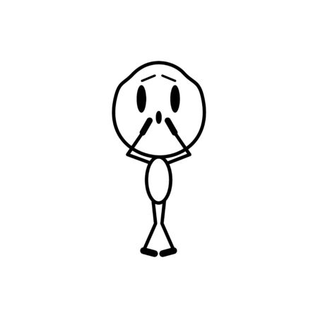 Cartoon man in grief and fear. Cartoon character. Vector, line illustration on a white background.