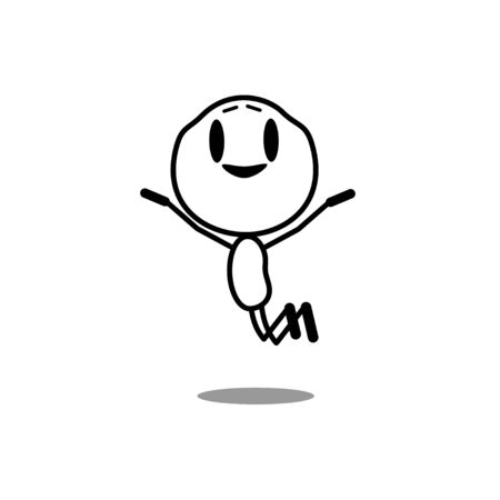 Happy man jumping in the air cheerfully. Feeling and emotion concept. Cartoon character. Vector, line illustration on a white background.