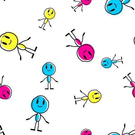 Seamless pattern with cartoon man. Vector line illustration on a white background.