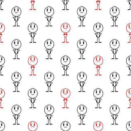 Seamless pattern with smiling man and displeased man. Vector line illustration on a white background.