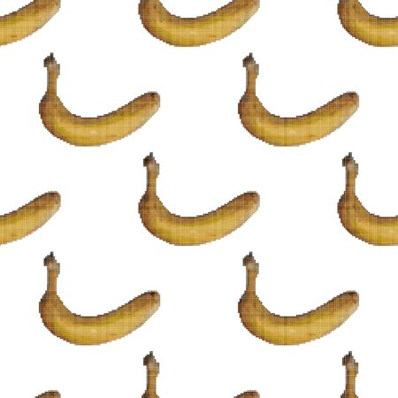 Bananas seamless pattern on a white background. Pixel Graphics. Tropical fruit. 8 bit .Vector illustration.