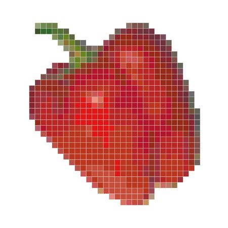 Pixel graphic red bell pepper. Fresh vegetable, healthy product. 8 bit. Vector illustration.