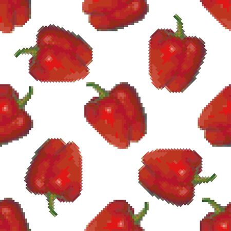 Red bell pepper seamless pattern on a white background. Pixel Graphics. Fresh vegetable, healthy product. 8 bit. Vector illustration.