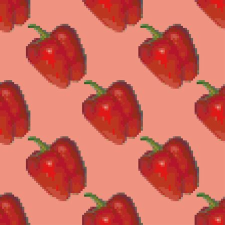 Red bell pepper seamless pattern on a pink background. Pixel Graphics. Fresh vegetable, healthy product. 8 bit. Vector illustration.