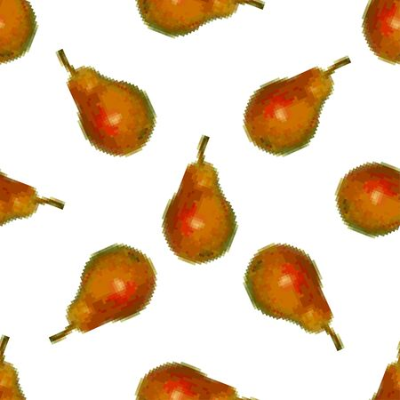 Pears seamless pattern on a white background. Pixel Graphics, fruit. 8 bit Vector illustration.