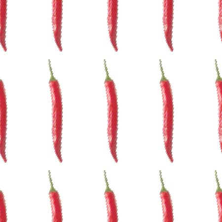 Red hot chilli, seamless pattern on a white background. Pixel Graphics with peppers. 8 bit .Vector illustration.  イラスト・ベクター素材