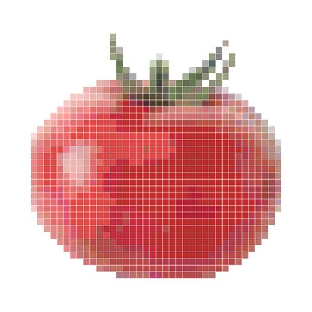 Pixel graphic red tomato. Fresh vegetable, healthy product. 8 bit. Vector illustration.