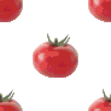 Red tomato seamless pattern on a white background. Pixel Graphics. Fresh vegetable. Healthy product. 8 bit. Vector illustration. 写真素材 - 148123765