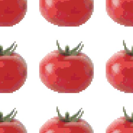 Red tomato seamless pattern on a white background. Pixel Graphics. Fresh vegetable. Healthy product. 8 bit. Vector illustration.  イラスト・ベクター素材