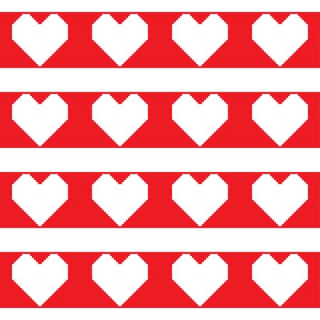 White pixel hearts on the red horizontal stripes. Seamless pattern. Romantic background. Vector illustration  イラスト・ベクター素材