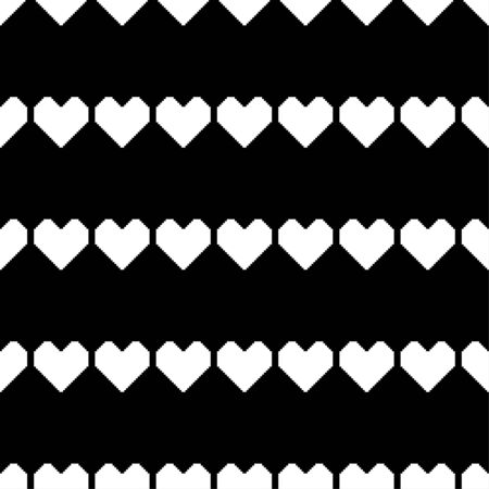 White pixel hearts on a black background. Seamless romantic pattern. Vector illustration