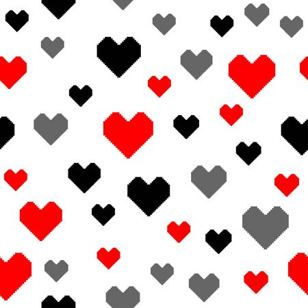 Black, red and gray pixel hearts on a white background. Seamless romantic pattern. Vector illustration  イラスト・ベクター素材